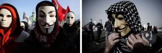 Links: Italiaanse demonstranten protesteren tegen een groot bouwproject in Venetië. Foto: Manuel Silvestri/Hollandse Hoogte. Rechts: Een demonstrant neemt deel aan protesten tegen de regering in Karranah (Bahrein). Foto: Mohoammed Al-Shaikh/ANP