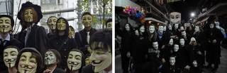 Links: Japanse Anonymous aanhangers demonstreren in Toyko voor anti-copyright wetten. Foto: Tomoyuki Kaya/ANP. Rechts: Een groep Griekse carnavalgangers poseren in de stad Tyrnavos voor de foto. Foto: Maro Kouri/Hollandse Hoogte