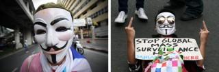 Links: Een Thaise demonstrant protesteert tegen de regering in Bangkok. Foto: Hollandse Hoogte. Rechts: Een Filipijnse demonstrant in Ermita neemt deel aan een protest tegen Amerikaanse surveillance. Foto: Hollandse Hoogte