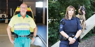 Links: Jan Kayser, in het dagelijks leven ambulancebroeder, sinds 2004 bij USAR. In 2010 uitgezonden naar Haïti. Rechts: Pauline Zwaan, in het dagelijks leven speurhondengeleider, sinds 2009 bij USAR. Uitgezonden naar Haïti.