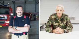 Links: Rene Verkerk, in het dagelijks leven brandweerman, sinds 2005 technische zoekspecialist bij USAR. In 2007 uitgezonden naar Pakistan. Rechts: Albert de Haan, in het dagelijks leven bij defensie, sinds 2013 als planner bij USAR. Nog niet uitgezonden.