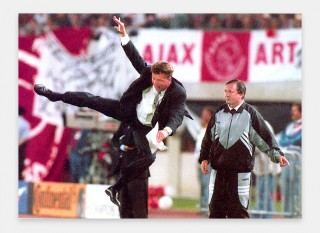 Van Gaal as Ajax manager doing a karate kick in the 1995 Champions' League against AC Milan. Photo: Robert Jaeger/ANP