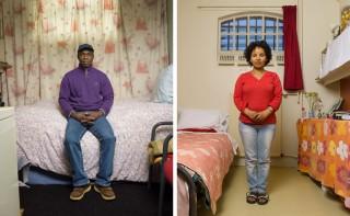 """Noivoi uit Ivoorkust (links) en Tigisti uit Eritrea (rechts). Onderdeel van de serie """"Vluchthaven"""". Foto's: Ton Hendriks"""