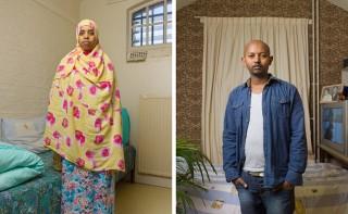 """Hinyo uit Somalië (links) en Masfin uit Eritrea (rechts). Onderdeel van de serie """"Vluchthaven"""". Foto's: Ton Hendriks"""