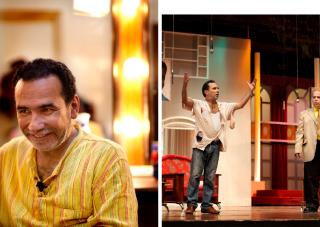 2011: Acteur en scenarioschrijver Haider Munaather tijdens de avondvoorstelling in het Nationaal Theater in Bagdad. Foto's: Marieke van der Velden