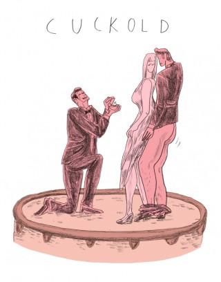 Hier kijkt de man toe hoe zijn echtgenote door een ander wordt genomen.