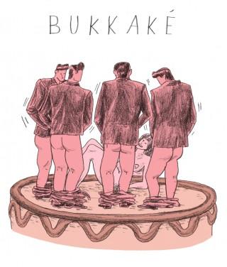 In Bukkake (Japans voor 'flink spetteren') spuiten meerdere mannen een vrouw onder.