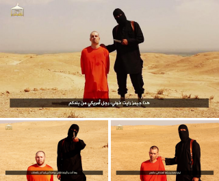Boven: De Amerikaanse journalist James Wright Foley. Linksonder: De Amerikaans-Israëlische journalist Steven Joel Sotloff. Rechtsonder: De Britse hulpverlener David Haines.