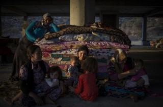 Yezidi-vluchtelingen uit Sinjar in het noorden van Irak, hebben hun kamp opgeslagen onder een brug langs een autoweg. Foto: Vianney Le Caer/Hollandse Hoogte