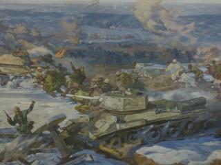 Een fragment van het panorama schilderij over de Slag om Stalingrad in het gelijknamige museum in de Zuid-Russische stad Wolgograd, het vroegere Stalingrad. Foto: Floris Akkerman
