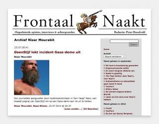 Screenshot van de website Frontaal Naakt
