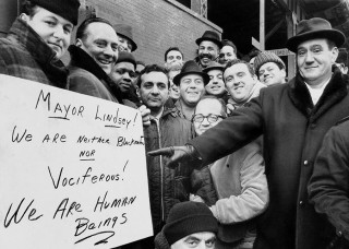 Stakende vuilnismannen in New York op 8 februari 1968. Foto: James Garrett/Getty Images