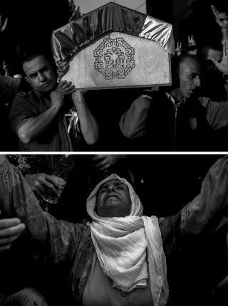 Tijdens de begrafenis van YPG-strijders in Suruc (Turkije). Foto's: Andreas Stahl