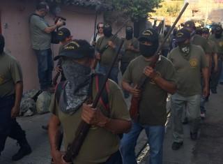 Protest van de CRAC, de burgerpolitie in Tixtla. Foto: Jan-Albert Hootsen