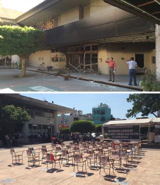 Boven: het uitgebrande gemeentehuis in Iguala dat sinds enkele weken het tijdelijke hoofdkwartier van de UPOEG is. Onder: Een demonstratie op het plein ervoor, voor de 43 vermiste studenten. Foto's: Jan-Albert Hootsen