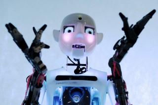 De robot Thespian op de tentoonstelling 'Robot Ball' in Moskou. Foto: Hollandse Hoogte