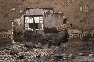 Verwoeste gebouwen in Tel Marouf, Syrië. Foto: Andreas Stahl