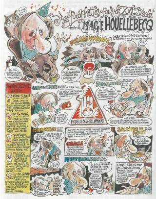 Strip bij het verhaal over het nieuwe boek van Michel Houellebecq in de nieuwste editie van het tijdschrift Charlie Hebdo. ('Profetieën voor de XXIste eeuw door Houellebecq de Wijze')