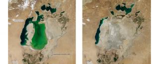 Links: het Aralmeer in 2000. Rechts: het Aralmeer in 2014