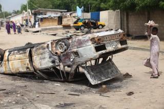Maiduguri in Nigeria na een aanslag van Boko Haram in augustus 2009. Foto: ANP