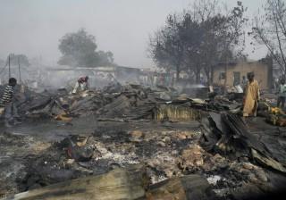 Maiduguri in Nigeria na een aanslag van Boko Haram in februari 2012. Foto: ANP