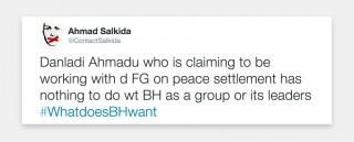 Tweet van Ahmed Salkida in augustus 2013.