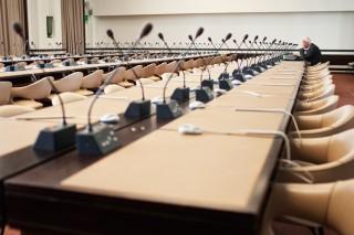 Een vergaderruimte in het Palais des Nations in Genève, waar onder meer het IASC bijeenkomt. Foto: Pieter van den Boogert