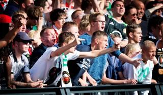 Feyenoordsupporters tijdens een wedstrijd tegen Ajax in de Kuip. 21 september 2014. Foto: Robin Utrecht/HH