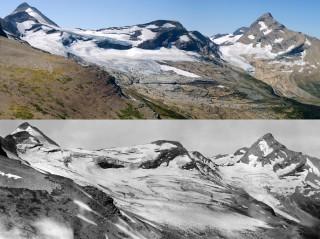 De Blackfoot-gletsjer in Montana (Verenigde Staten). Boven in 2009, onder in 1914. Foto's: ANP