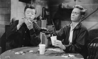 Macdonald Carey en Brandon de Wilde in 'Blue Denim' (1959).