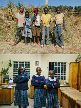 Boven: Jongens spelen op straat. Onder: Scholieren van het plaatselijke schooltje. Foto's: Michiel Cotterink
