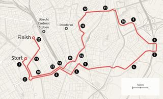 De 1e etappe van de Tour de France 2015. Nummers op de kaart corresponderen met de cijfers op de foto's in het stuk.