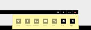 Klik in het menu rechtsboven op het deel-icoontje (hier rood) om een artikel te printen of op te slaan als pdf (alleen voor leden).