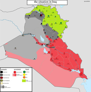 Kaart van de situatie in Irak, 14-08-2014. Kaart gemaakt door: Thomas van Linge.