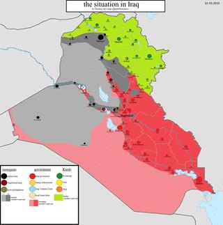 Kaart van de situatie in Irak, 15-01-2015. Kaart gemaakt door: Thomas van Linge.