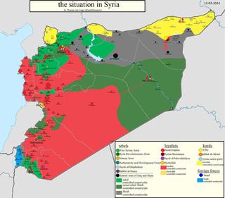 Kaart van de situatie in Syrië, 13-03-2014. Kaart gemaakt door: Thomas van Linge.
