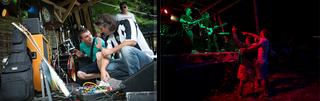 Rockband Afera voor en tijdens het optreden. Foto's: Jodi Hilton.