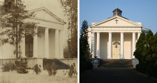 De Willemskerk in 1946 en 2015.