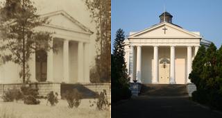 De Willemskerk in 1946 en 2015.