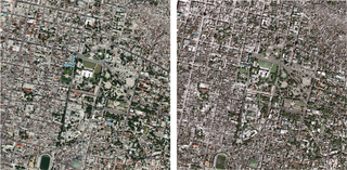 Satellietfoto's van Port-au-Prince voor (links) en na (rechts) de aardbeving. Foto: USGS Hazard Data Distribution System