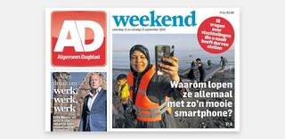 De vluchteling als 'profiteur' op de voorpagina van het Algemeen Dagblad van afgelopen zaterdag.