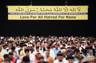 Tijdens het jaarlijkse driedaagse Jalsa Salana in Hampshire, waar ook Mirza Masroor Ahmad aanwezig was. Foto: Leon Neal / AFP
