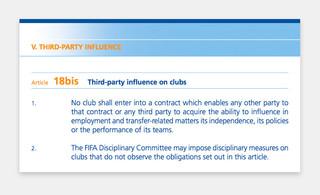 Screenshot artikel 18bis uit de FIFA-regels.