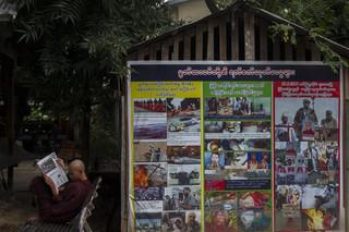 Een muur vol anti-moslimpropaganda nabij het kantoor van boeddhist Ashin Wirathu. Foto: Andreas Stahl