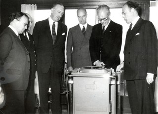 "The opening of the Dutch Radar Research Station in 1947, with J.M.F.A. ""Joop"" van Dijk (far right) and Sir Robert Watson-Watt (far left).  Watson-Watt developed the radar technology used by Britain in WWII. Photo from private collection."