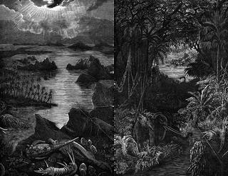 Gravures uit het boek 'Le monde avant la creation de l'homme' (1886) van astronoom Camille Flammarion.