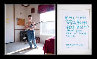 Benjamin, 7 jaar. Uit de serie 'My First Rifle'. Foto: An-Sofie Kesteleyn