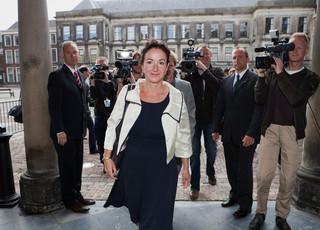 Den Haag, 2010 - Femke Halsema arriveert op het Binnenhof voor een gesprek met Uri Rosenthal, hij onderzocht als informateur de mogelijkheden van een paars plus kabinet. Foto: Pierre Crom/ANP