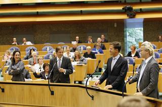 Den Haag, 2009 - vlnr Femke Halsema, Alexander Pechtold van D66, Mark Rutte van de VVD en Geert Wilders van de PVV tijdens de Algemene Beschouwingen in de Tweede Kamer. Foto: Marcel Antonisse/ANP