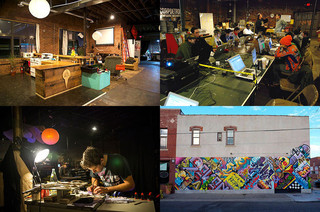 De 'creative hackers space' OmniCorpDetroit. In een voormalige fabriek in the Eastern Market kunnen o.a. fotografen, ambachtslieden en industrieel ontwerpers werkplekken, ontspanningsruimtes en faciliteiten delen. Beeld: OmniCorpDetroit, Getty Images